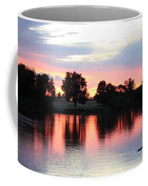 Sunset Coffee Mug featuring the photograph Pink Dusk Reflection by Carol Groenen