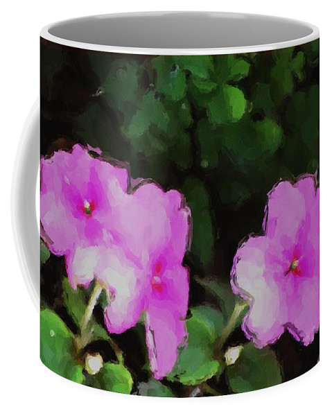 Digital Photograph Coffee Mug featuring the photograph Pink Floral Watercolor by David Lane