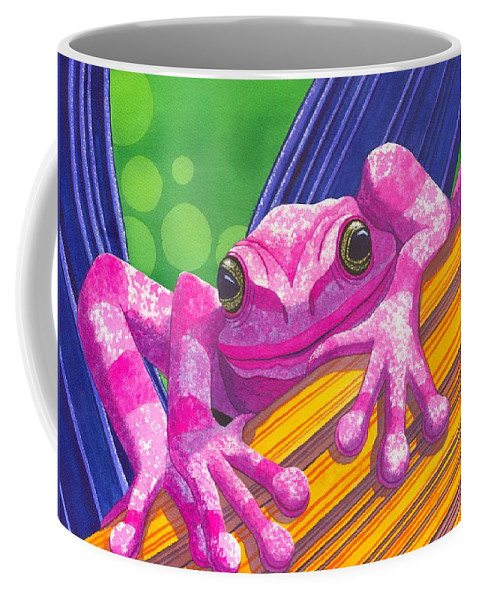Frog Coffee Mug featuring the painting Pink Frog by Catherine G McElroy