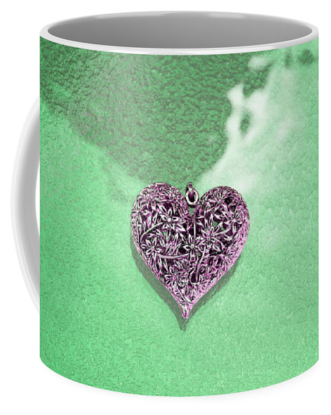 Hearts Coffee Mug featuring the photograph Pink Heart On Frosted Glass by Susan Newcomb