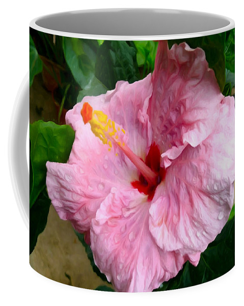 Pink Hibiscus Flower Coffee Mug featuring the painting Pink Hibiscus Flower 1 by Jeelan Clark