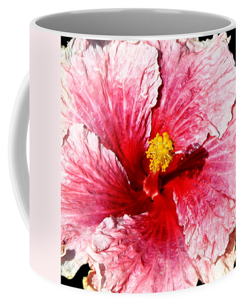 Flower Coffee Mug featuring the photograph Pink Hibiscus Inspired By Georgia O'keefe by Anthony Jones