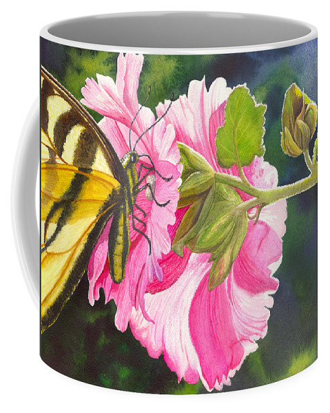 Hollyhock Coffee Mug featuring the painting Pink Hollyhock by Catherine G McElroy