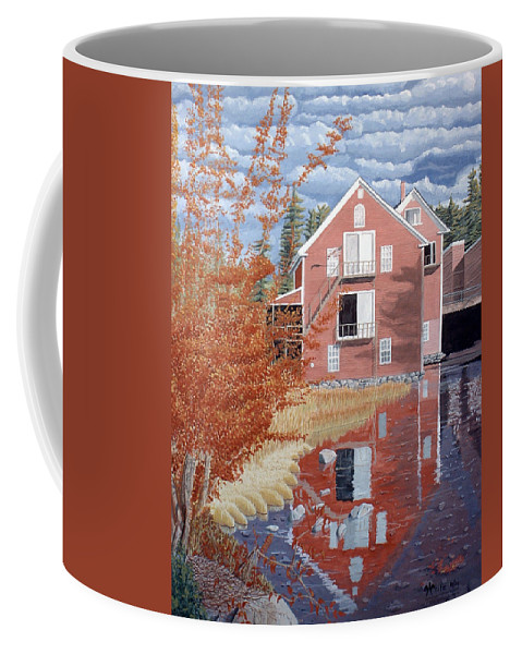 Autumn Coffee Mug featuring the painting Pink House In Autumn by Dominic White