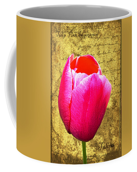 Pink Coffee Mug featuring the digital art Pink Impression Tulip by Teresa Mucha