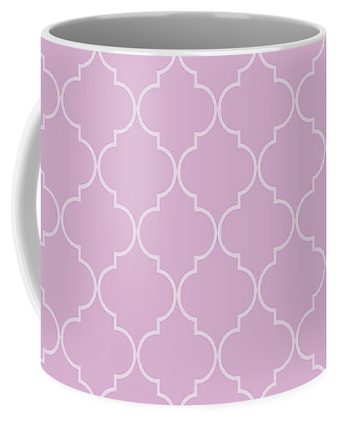 Quatrefoil Coffee Mug featuring the digital art Pink Lavender Quatrefoil by Ashley Wann