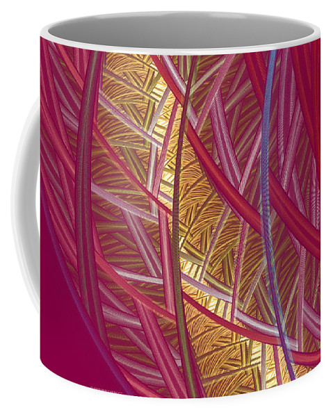 Fractal Coffee Mug featuring the mixed media Pink Lines by Deborah Benoit