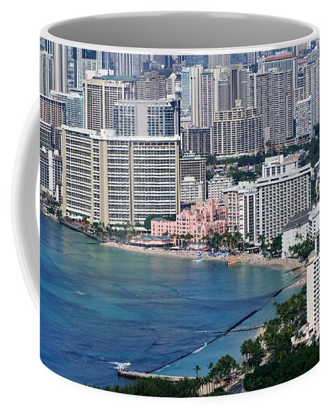 Pink Coffee Mug featuring the photograph Pink Palace Waikiki Honolulu by Mary Deal
