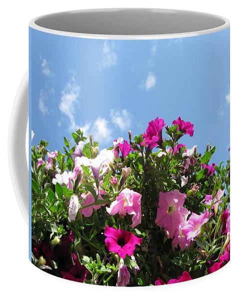 Petunia Coffee Mug featuring the photograph Pink Petunias In The Sky by Ausra Huntington nee Paulauskaite
