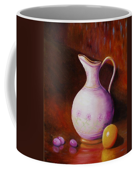 Still Life Coffee Mug featuring the painting Pink Pitcher by Gene Gregory