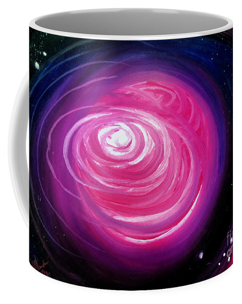Diffusing Atmosphere Coffee Mug featuring the painting Pink Planet With Diffusing Atmosphere by Sofia Metal Queen