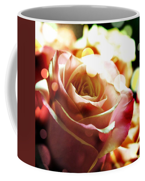 Pink Coffee Mug featuring the photograph Pink Rose In Sparkling Lights by Cindy Boyd
