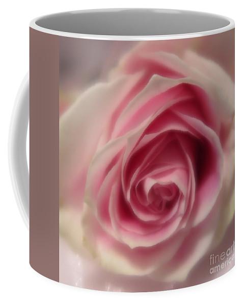 Floral Coffee Mug featuring the photograph Pink Rose Macro Abstract by Tara Shalton