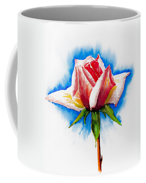 Black Coffee Mug featuring the painting Pink Rose by Svetlana Sewell