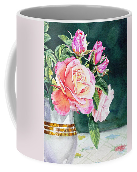 Light Coffee Mug featuring the painting Pink Roses Summer Bouquet by Irina Sztukowski