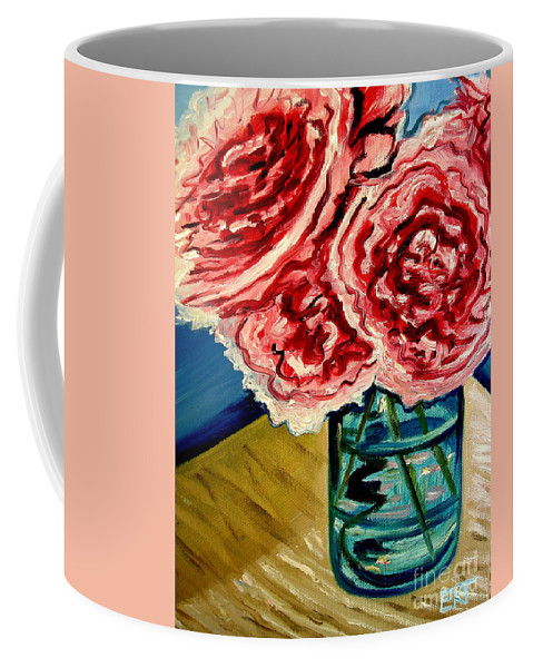 Floral Coffee Mug featuring the painting Pink Ruffled Peonies by Elizabeth Robinette Tyndall