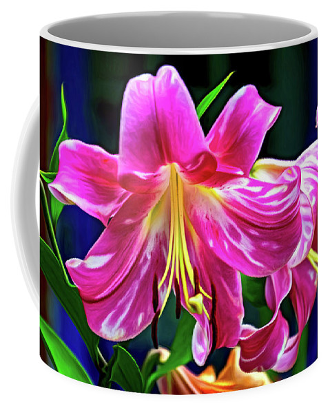 Flower Coffee Mug featuring the photograph Pink Rules - Paint by Steve Harrington