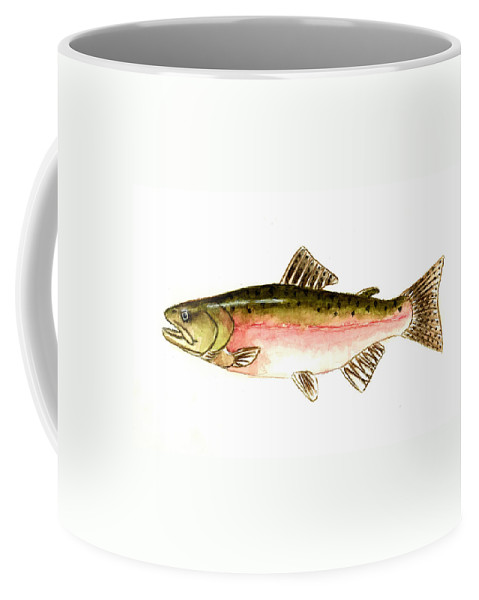 Fish Coffee Mug featuring the painting Pink Salmon by Michael Vigliotti