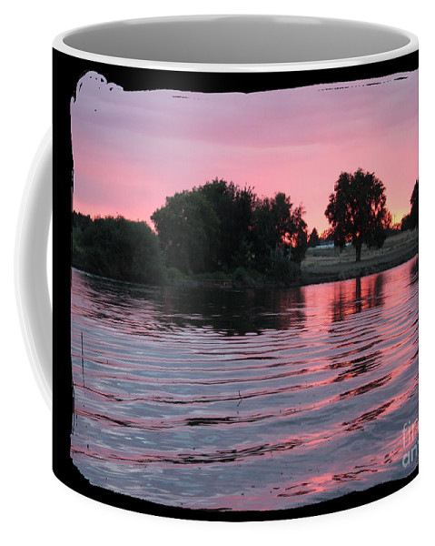 Pink Sunset Coffee Mug featuring the photograph Pink Sunset With Soft Waves In Black Framing by Carol Groenen