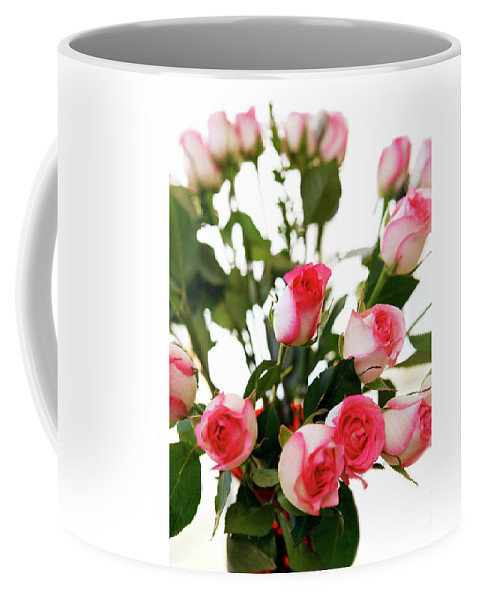 Pink Coffee Mug featuring the photograph Pink Trimmed Roses by Marilyn Hunt