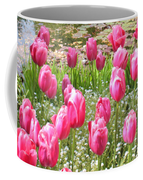 Ponds Coffee Mug featuring the photograph Pink Tulips By Peaceful Pond by Carol Groenen