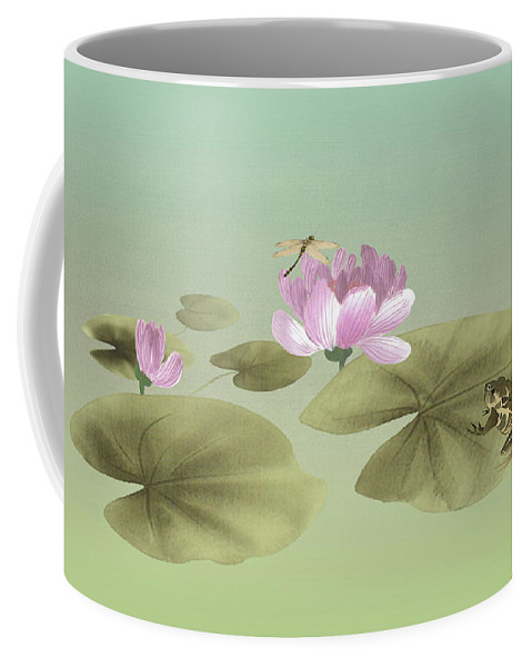 Water Lily Coffee Mug featuring the digital art Pink Water Lily And Frog by Spadecaller