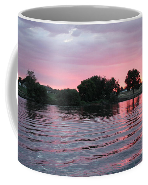 Sunset Coffee Mug featuring the photograph Pink Waves Sunset by Carol Groenen