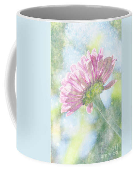 Zinnia Coffee Mug featuring the photograph Pink Zinnia On Bokeh Background by Jim And Emily Bush