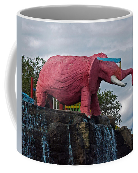 Florida; Kitsch; Roadside; Road; Side; Astronaut; Cape; Canaveral; Pinky; Elephant; Statue; Monument Coffee Mug featuring the photograph Pinky The Elephant At Cape Canaveral by Allan Hughes