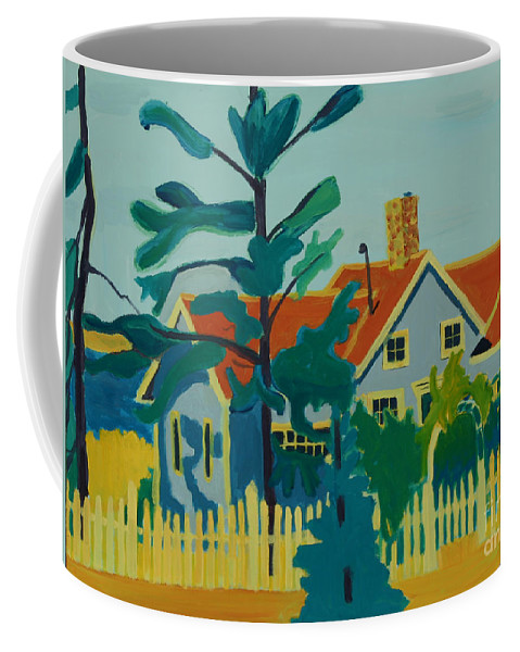 Beach Coffee Mug featuring the painting Pinkys House On Pemaquid Point by Debra Bretton Robinson
