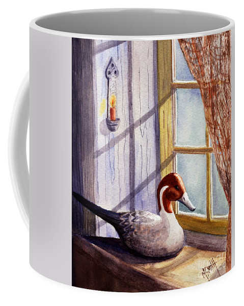 Decoy Coffee Mug featuring the painting Pintail Decoy by Marilyn Smith