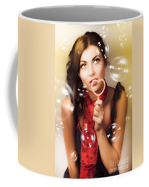 1950s Coffee Mug featuring the digital art Pinup Girl Blowing Love Kiss. American Retro Style by Jorgo Photography - Wall Art Gallery