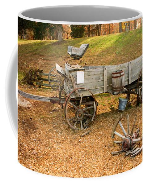 Pioneer Coffee Mug featuring the photograph Pioneer Wagon And Broken Wheel by Douglas Barnett