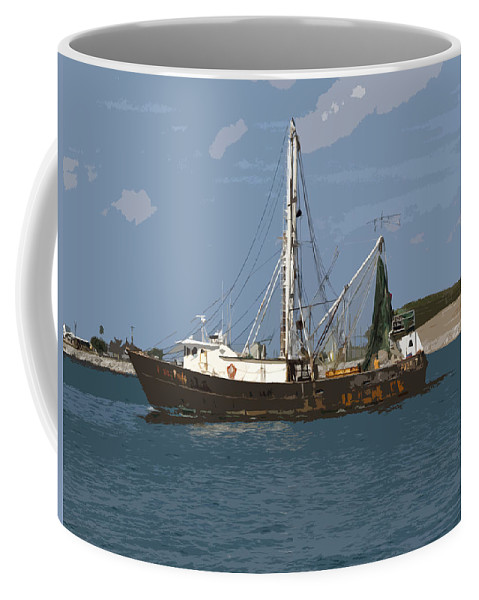 Boat Coffee Mug featuring the painting Pirate One by Allan Hughes