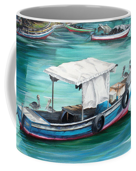 Fishing Boat Painting Seascape Ocean Painting Pelican Painting Boat Painting Caribbean Painting Pirogue Oil Fishing Boat Trinidad And Tobago Coffee Mug featuring the painting Pirogue Fishing Boat by Karin Dawn Kelshall- Best