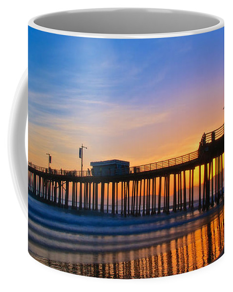 Nature Coffee Mug featuring the photograph Pismo Beach and Pier Sunset by Zayne Diamond Photographic