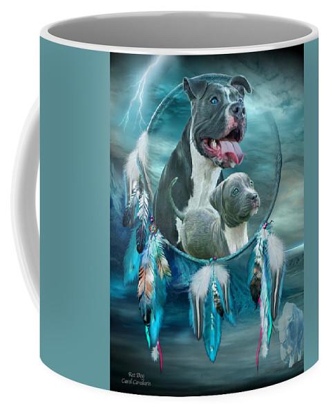 Rez Dog Cover Art Coffee Mug featuring the mixed media Pit Bulls - Rez Dog by Carol Cavalaris