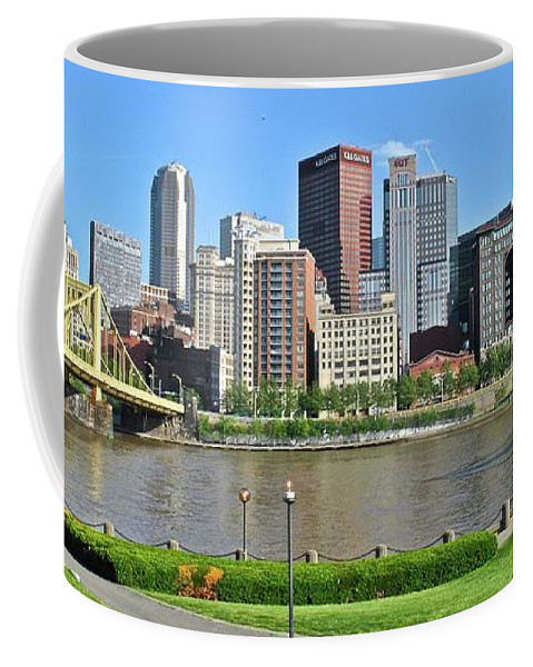 Pittsburgh Coffee Mug featuring the photograph Pittsburgh From Just Outside Pnc Park by Frozen in Time Fine Art Photography