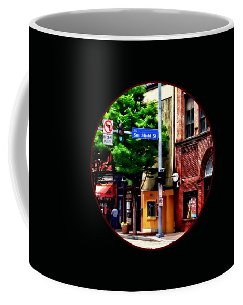 Pittsburgh Coffee Mug featuring the photograph Pittsburgh Pa - Liberty Ave And Smithfield Street by Susan Savad