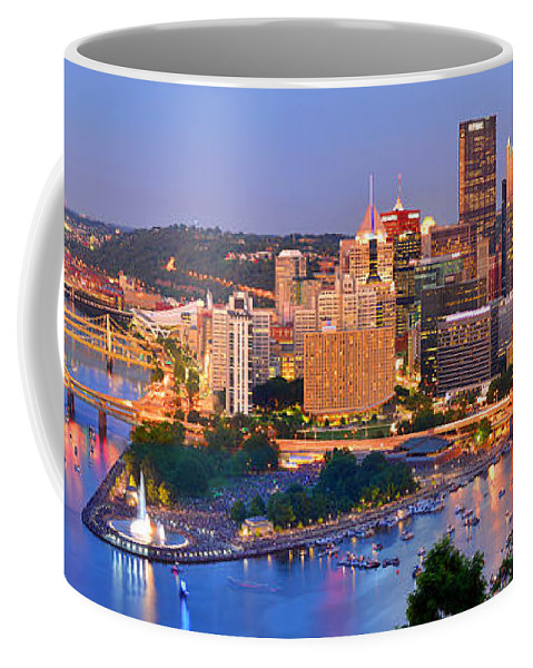 Pittsburgh Skyline Coffee Mug featuring the photograph Pittsburgh Pennsylvania Skyline At Dusk Sunset Panorama by Jon Holiday