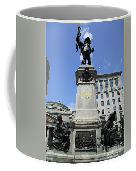 Montreal Coffee Mug featuring the photograph Place D'armes Sculpture 6 by Randall Weidner