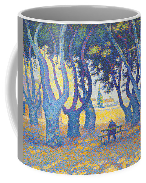 Paul Signac Coffee Mug featuring the painting Place Des Lices St Tropez by Paul Signac