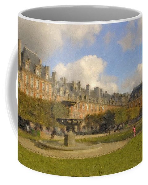 Paris Coffee Mug featuring the digital art Place Des Vosges by Mick Burkey
