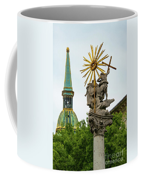 Bratislava Slovakia Saint Martin Cathedral Spire Spires St. Martin's Cathedrals Building Buildings Structure Structures City Cities Cityscape Cityscapes Landmark Landmarks Plague Column Of Saint Trinity Columns Memorial Memorials Place Of Worship Places Of Worship Architecture Georg Rafael Donner Coffee Mug featuring the photograph Plague Column And Saint Martin Cathedral by Bob Phillips