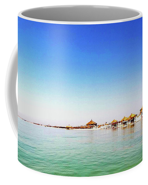 Tunisie Coffee Mug featuring the pyrography Plage by Kaouther Zitouni
