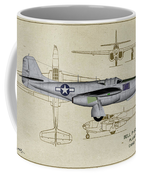 Bell P-59a Airacomet Coffee Mug featuring the digital art Planes Of Fame A-59 Airacomet - Profile by Tommy Anderson