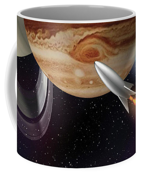 Space Coffee Mug featuring the digital art Planets by Dave Ginsberg
