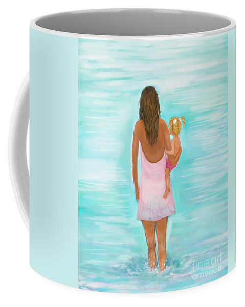 Mother Art Coffee Mug featuring the painting Play Day With Mommy by Leslie Allen