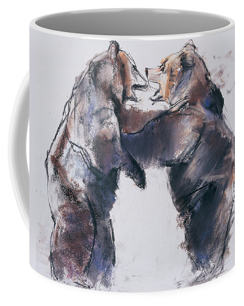 Brown Bears Coffee Mug featuring the drawing Play Fight by Mark Adlington