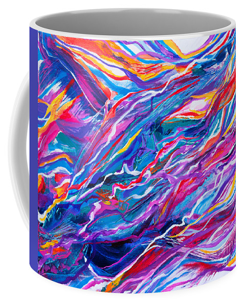 Filaments Lines Strokes Rushing Water Full Of Vibrant Color And Dynamic Movement Energy Contemporary Original Abstract Coffee Mug featuring the painting Playful stream by Priscilla Batzell Expressionist Art Studio Gallery